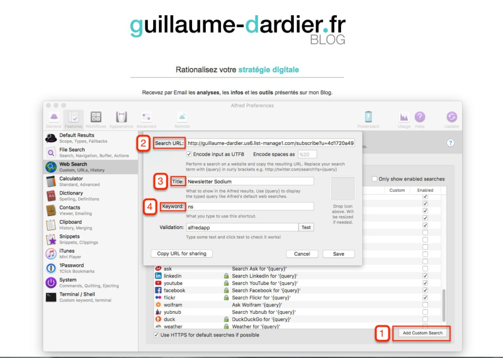 alfred plugin OSX : exemple newsletter guillaume dardier
